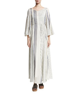 Selar Striped Long-Sleeve Maxi Dress, White Pattern