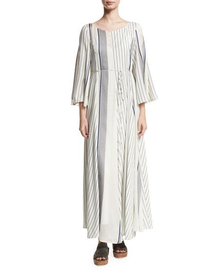 Selar Striped Long-Sleeve Maxi Dress, White Pattern