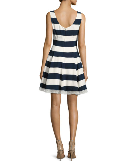 Cherry-Embroidered Striped A-Line Dress, Blue/White