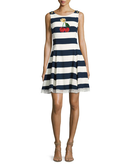 dccb9541ef8df Dolce & Gabbana Cherry-Embroidered Striped A-Line Dress, Blue/White