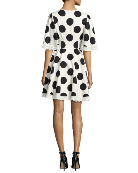 Half-Sleeve Lace-Trim Polka-Dot Dress, White/Black