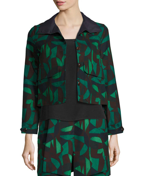 Garden-Print Short Jacket, Green/Black