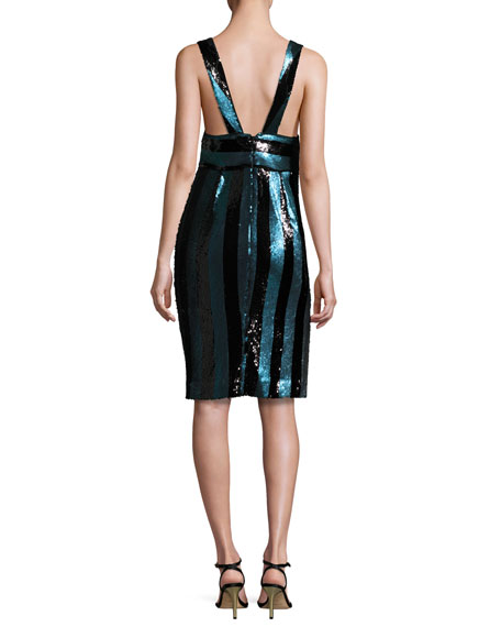 Veronica Sleeveless Striped Sequin Cocktail Dress, Blue/Black