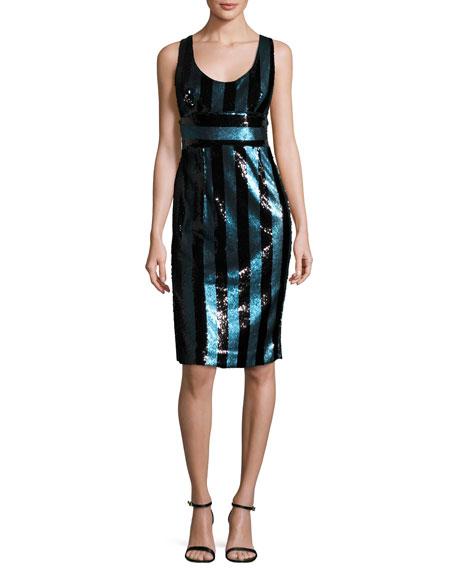 Veronica Sleeveless Striped Sequin Cocktail Dress, Blue/Black
