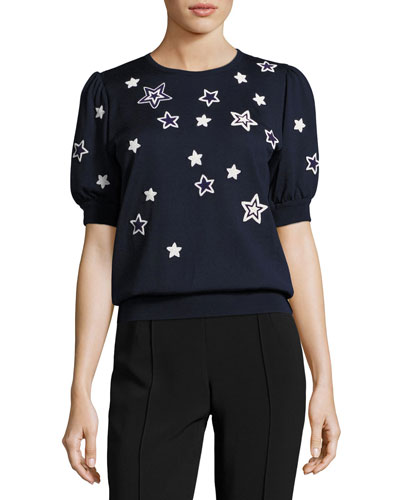 Star-Embellished Puff-Sleeve Sweater