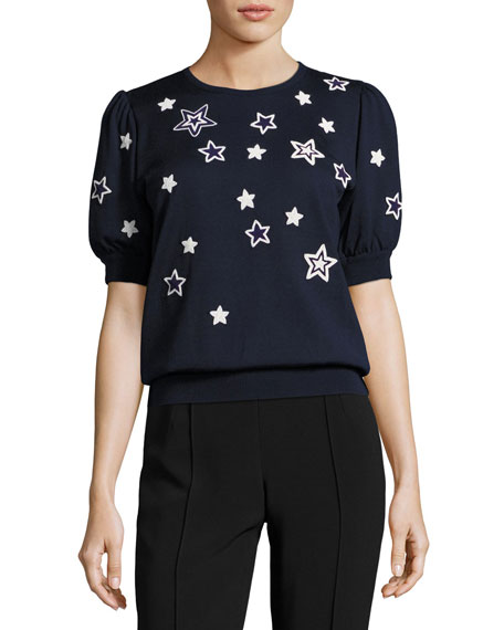Andrew Gn Star-Embellished Puff-Sleeve Sweater