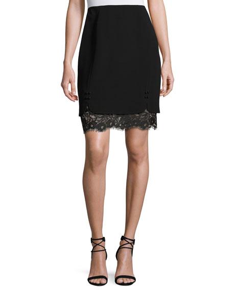 J. Mendel Layered Lace & Crepe Skirt, Black