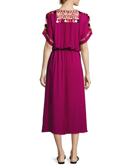 Short-Sleeve Tie-Waist Midi Dress, Magenta