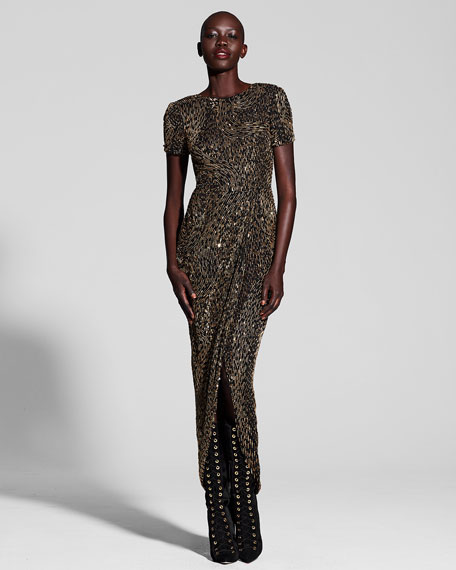Metallic Beaded Short-Sleeve Gown, Multi