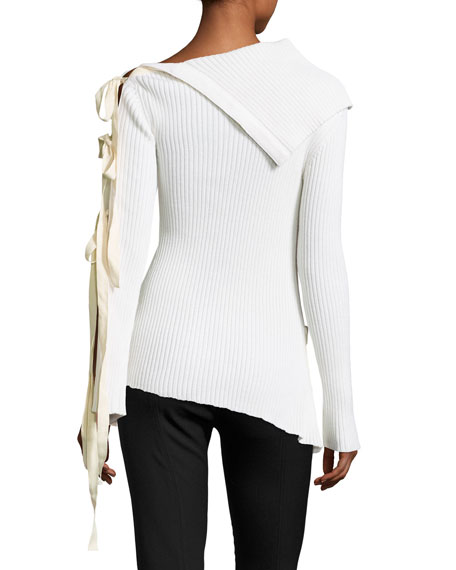 Shoulder Sleeve Ribbon Sweater Off The zRqAUxxF