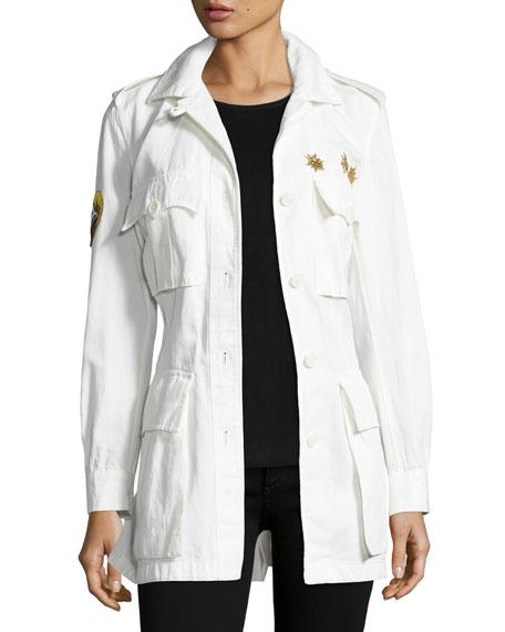 Metallic-Beaded Safari Jacket, Off White