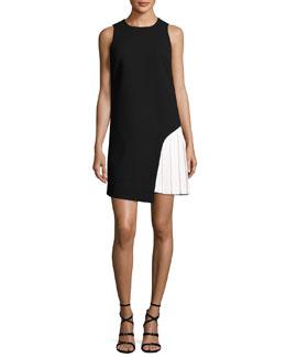Sleeveless Side-Pleat Shift Dress