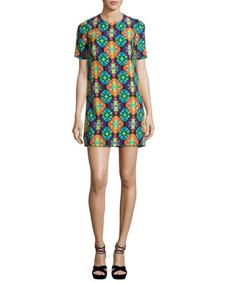 Geometric-Print Short-Sleeve Shift Dress, Purple