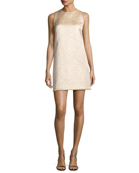 Sleeveless Metallic Jacquard Shift Dress, Gold