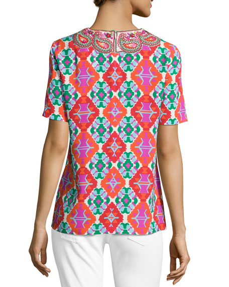 Embroidered Geometric-Print Short-Sleeve Top