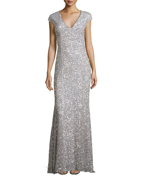 Fleur Beaded Cap-Sleeve V-Neck Gown, Navy