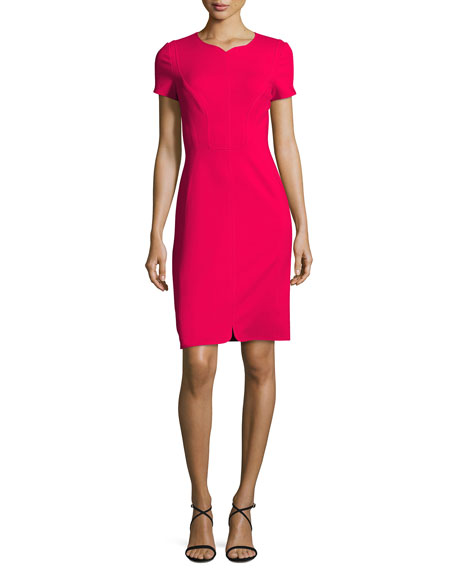 Cap-Sleeve Crepe Sheath Dress, Pink