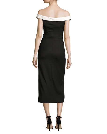 Tuxedo Button-Front Midi Dress, Black/White