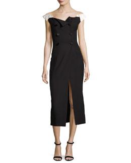 Tuxedo Button-Front Midi Dress, Black/White
