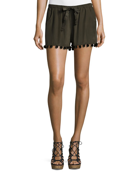 Tassel-Trim Silk Shorts, Dark Green