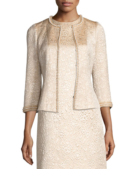 Pearly Beaded Jacquard Jacket