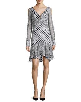 Long-Sleeve Mixed Polka-Dot Dress, Multi