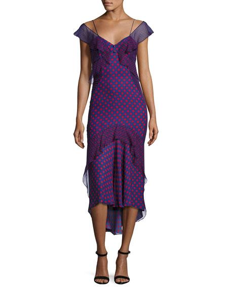 Ruffled Polka-Dot Chiffon Midi Dress, Multi