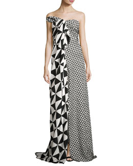 Strapless Geometric-Print Slit-Front Gown, Black/White