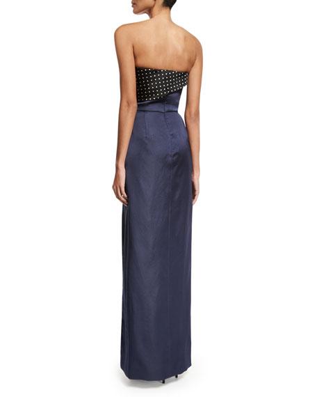 Polka-Dot Combo Column Gown, Black/Blue