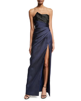 Polka-Dot Combo Column Gown, Black/Blue