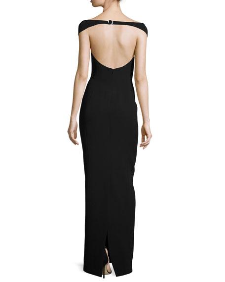 Off-Shoulder Open-Back Silk Gown, Black
