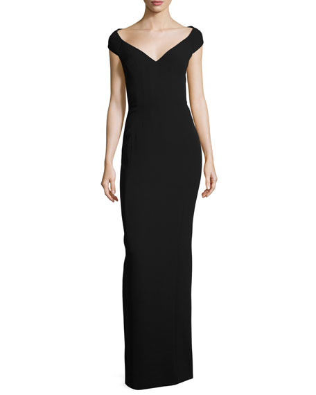 Off-Shoulder Open-Back Silk Gown, Black