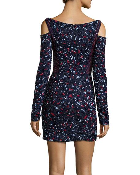 Floral-Embroidered Cold-Shoulder Dress, Navy