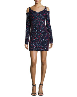 Floral-Embroidered Cold-Shoulder Dress, Navy