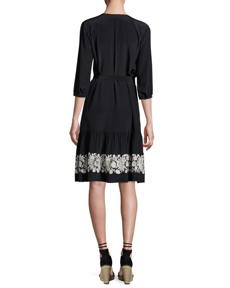 Embroidered 3/4-Sleeve Dress, Onyx