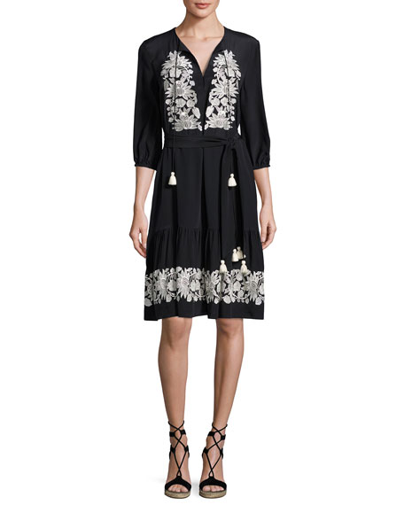 Figue Embroidered 3/4-Sleeve Dress, Onyx