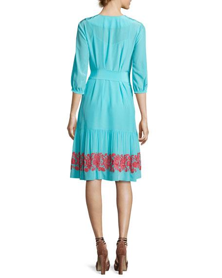 Embroidered 3/4-Sleeve Peasant Dress, Blue