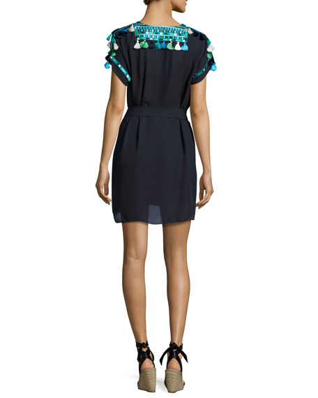 Short-Sleeve Embroidered Dress, Navy/Turquoise
