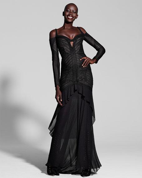 Mixed-Lace Cold-Shoulder Gown, Black (Noir)