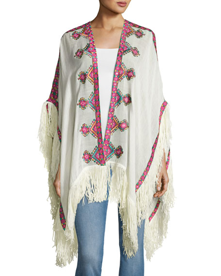 Embroidered Wool Shawl, Ivory