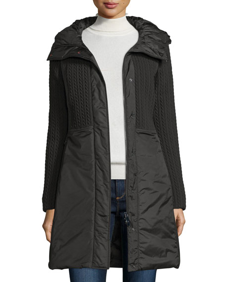Post Card Quilted 3-Layer Hooded Parka, Nero
