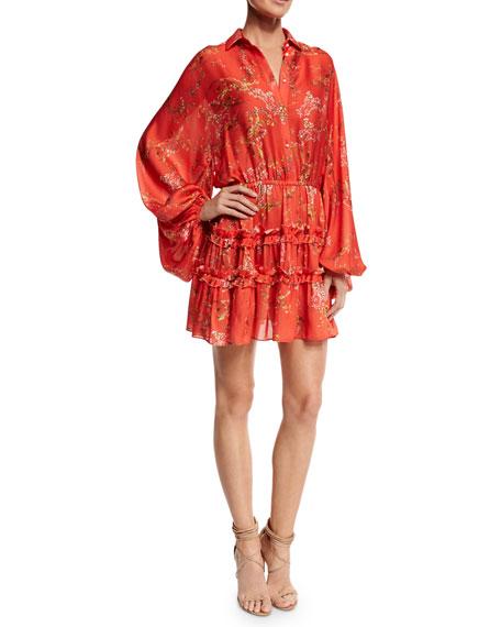Loe Blooming Floral-Print Dress, Red