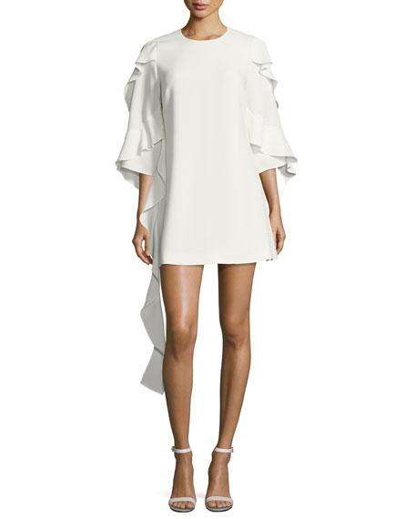 Sofie Crepe Cascading-Ruffle Mini Dress