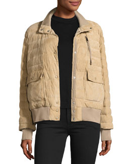 Sile Quilted Suede Jacket, Beige