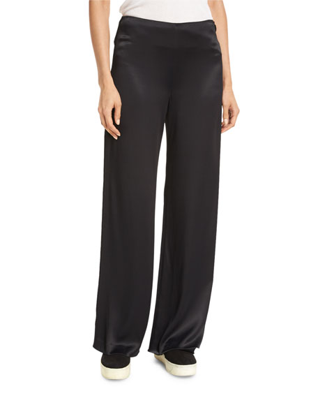 Fluid Wide-Leg Pants, Black