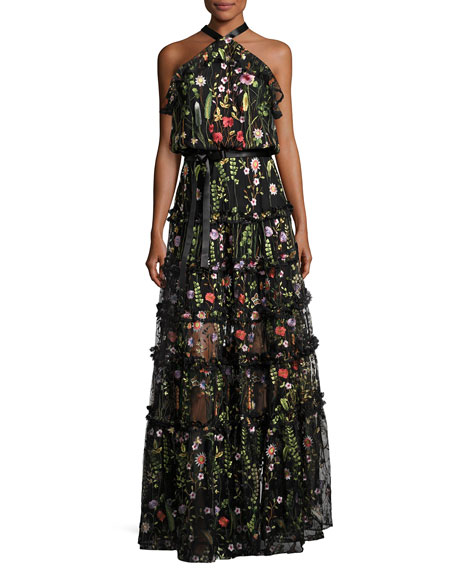 Glory Garden Tiered Halter Maxi Dress, Black