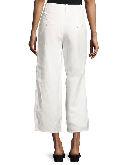 High-Waist Cropped Wide-Leg Pants