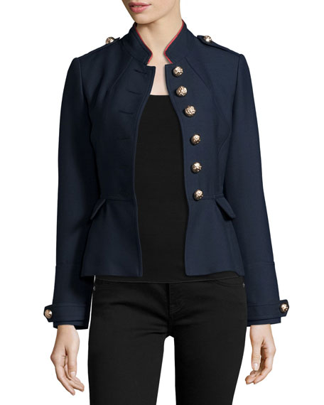 Huntingdale Military Button Jacket, Ink Blue