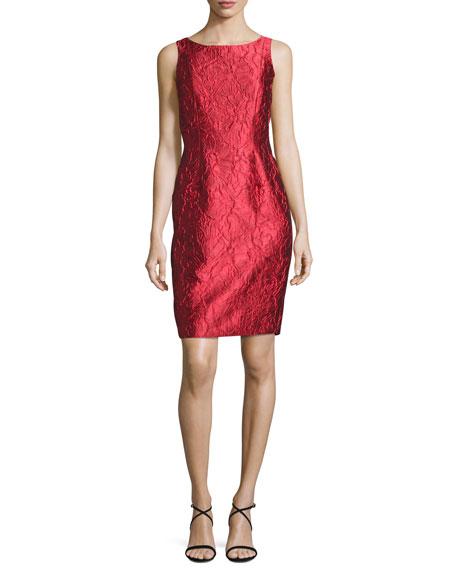 Sleeveless Floral Brocade Sheath Dress, Red