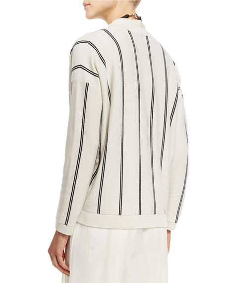 Striped Cashmere V-Neck Cardigan, Multi